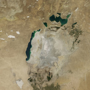 The remains of the Aral Sea on August 19, 2014