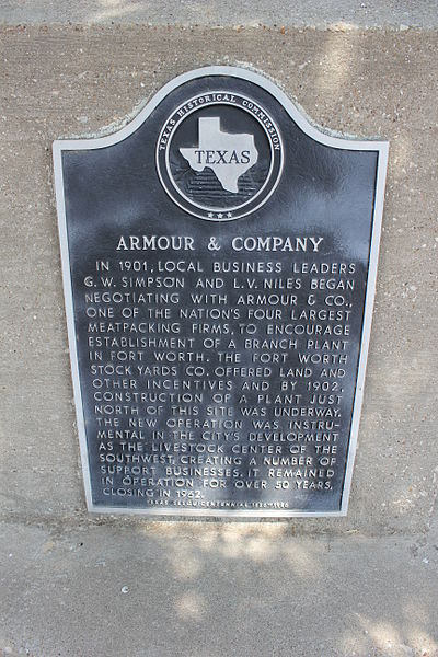 Armour & Company, Fort Worth, Texas Historical Marker. Author: Nicolas Henderson CC BY 2.0