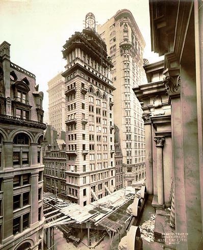 Gillender Building deconstruction, Top floors, and spire.