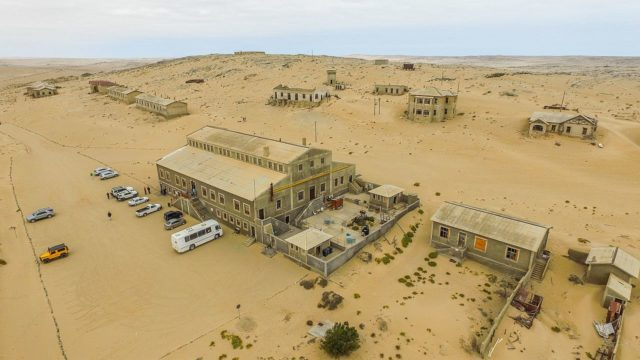An aerial view of Kolmanskop. Author: SkyPixels CC BY-SA 4.0