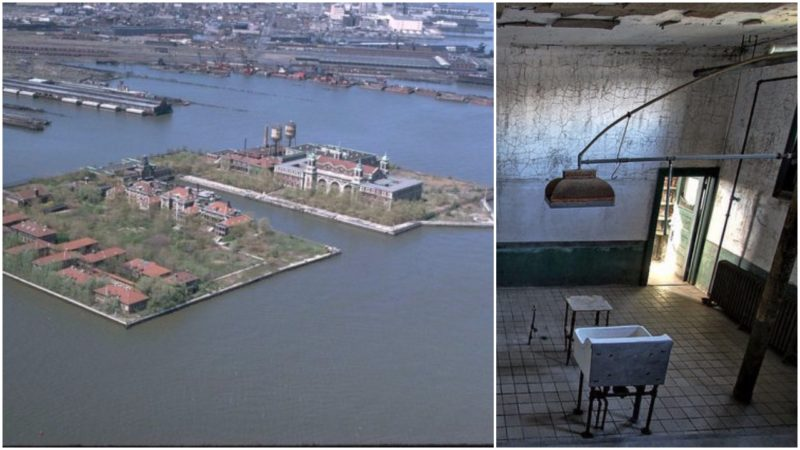 Left: Ellis Island as seen from the air in the early 1970s. Right: A room indie the hospital. Forsaken Fotos, CC BY 2.0