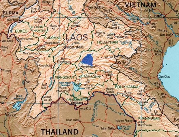 Location of Plain of Jars and Xieng Khouang plain (blue shading).