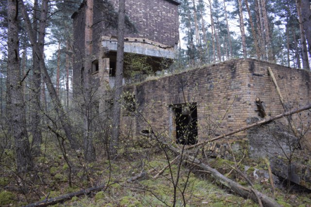 Ruined central building of the sewage treatment plant