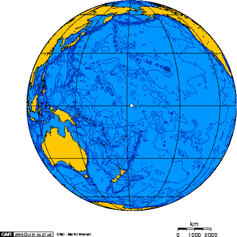 Orthographic projection over Baker Island(the dot in the middle). Photo Credit:Geo Swan,CC BY-SA 2.5