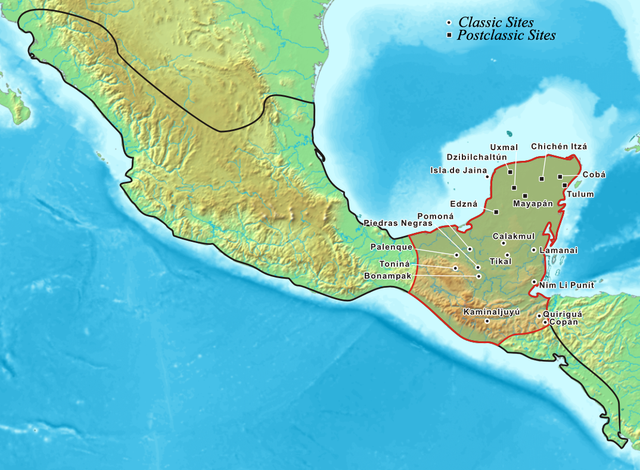 Map of the Mayan area within the Mesoamerican region. Photo credit:Kmusser,CC BY-SA 3.0