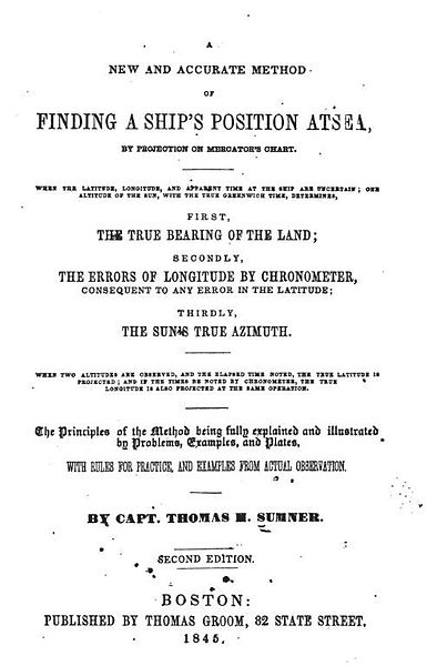 A new and accurate method of finding at sea by Capt. Thomas H. Sumner –  brilliant mind to end in an asylum.