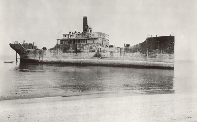 SS Atlantus the day she ran aground, 8 June 1926