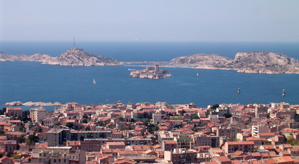 The Château d'If and neighboring offshore islands seen from Marseille.