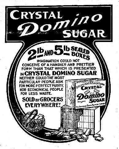 Crystal Domino sugar newspaper ad.
