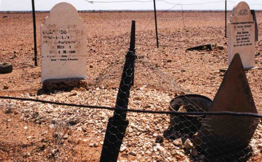 Headstones facing Mecca in Farina's cemetery.
