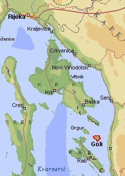 Goli Otok and its neighboring islands. Goli-otok.com,CC BY-SA 3.0