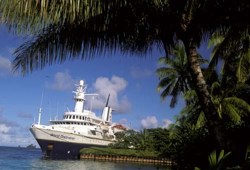 The ship World Discoverer docked in Palmyra, Line Islands. Photo Credit:Angela K. Kepler