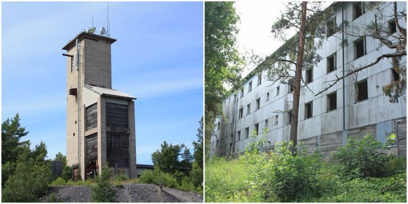 Left: One of the survived mining buildings on Jussarö. Right: The vegetation has overgrown the entrances of the buildings. Photo credits: Migro, CC0 1.0