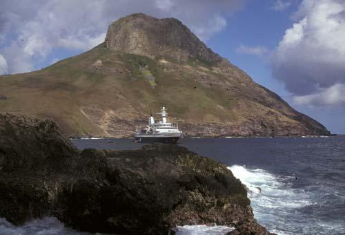 World Discoverer anchored in Hakahau Bay, Ua Pou, Marquesas. Photo Credit:Angela K. Kepler