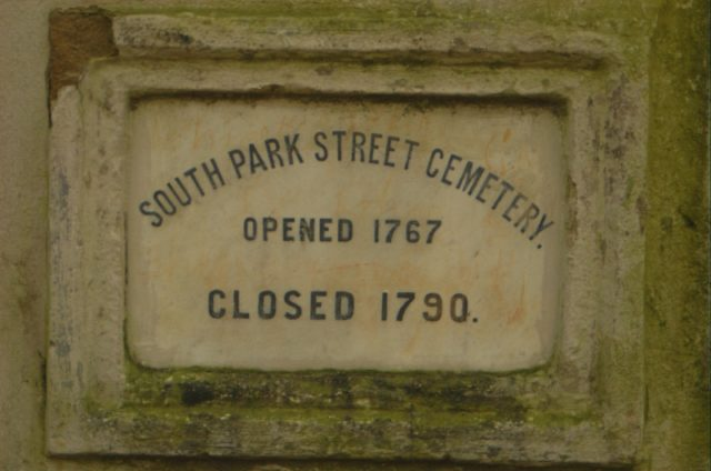 """The marble plaque which reads: """"South Park Street Cemetery, Opened 1767, Closed 1790. Author: Giridhar Appaji Nag Y CC BY 2.0"""