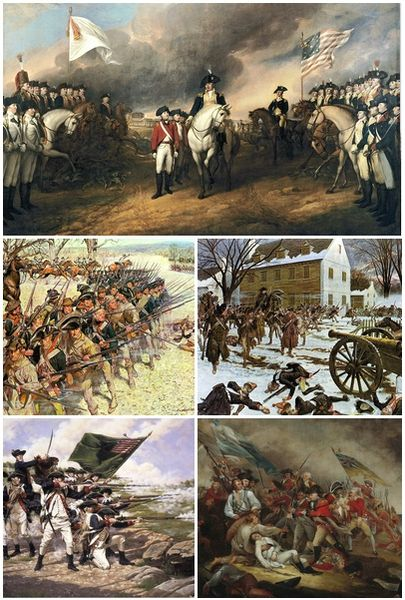 Montage of the events of the American Revolutionary War of 1775-1781.