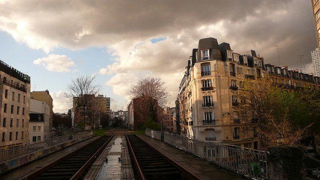 Train tracks in the city