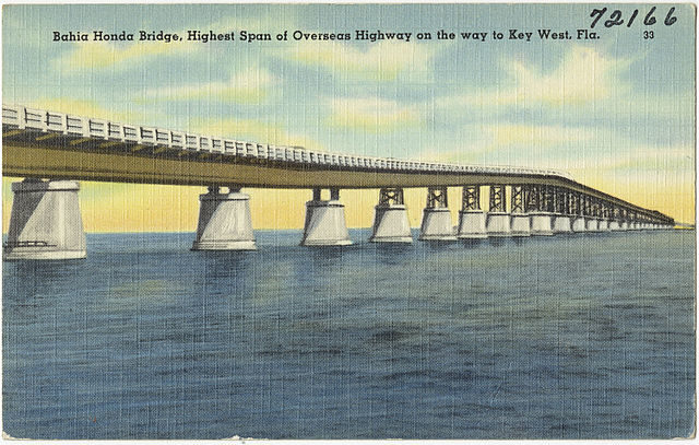 The old bridge on a card from 1940s.