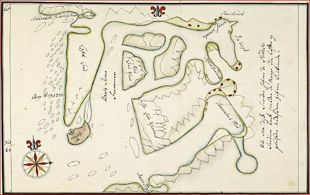 A map of Haabet Oe and Baal's River by Hans Egede.
