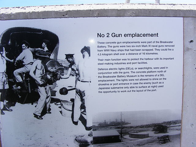 A plaque located at Breakwater Battery. AuthorAdam.J.W.C.CC BY 3.0