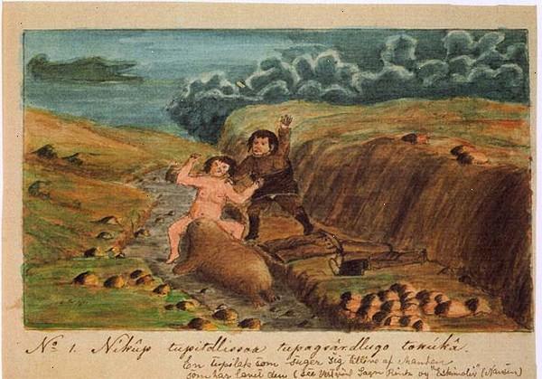 Tupilak woman and man by Aron of Kangeq