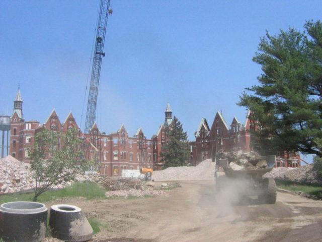Demolition of the hospital.