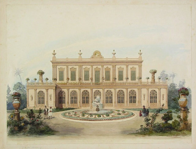 View of a villa, probably Villa Oppenheimer in Cairo, by Diebitsch's hand.