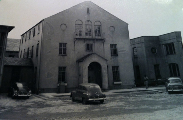 A historic photo of the main building.