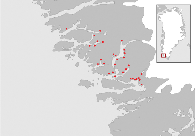 Map of the Middle Settlement of the Norse in medieval Greenland. Red dots indicate known Norse farm ruins.Author:Hans Christian GulløvCC BY-SA 3.0