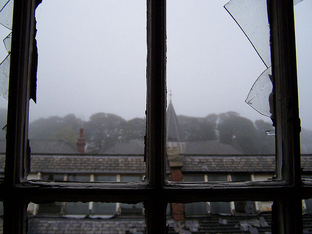 View from asylum's broken window. Photo Credit