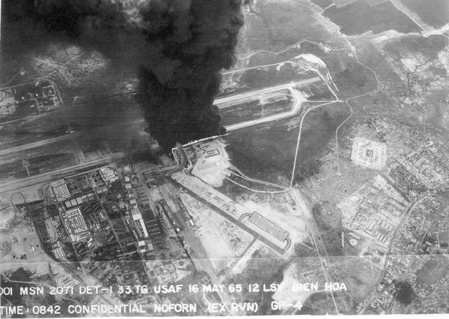 Aerial view of the bomb incident that caused numerous second-hand explosions.