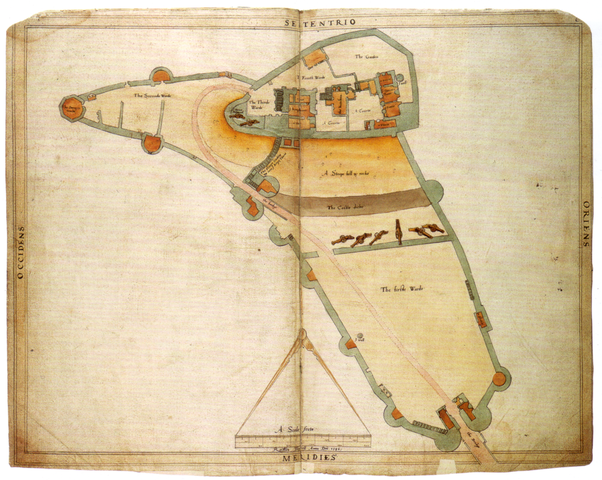 A plan of Corfe Castle from 1586, drawn up by Ralph Treswell