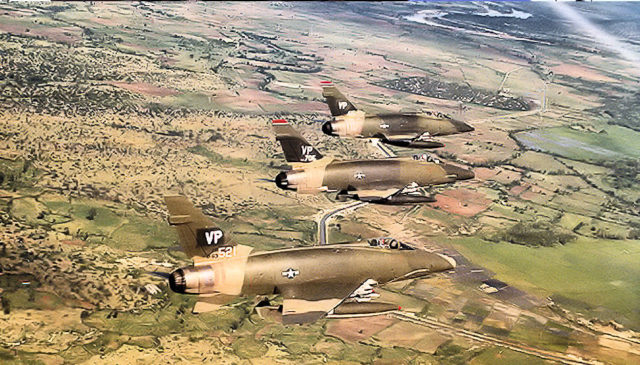614th Tactical Fighter Squadron 3 ship F-100D formation.