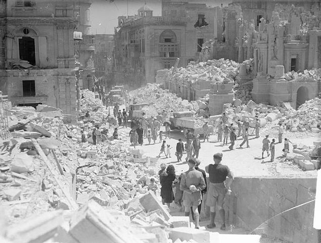 Bomb damage in Valletta during the Second World War