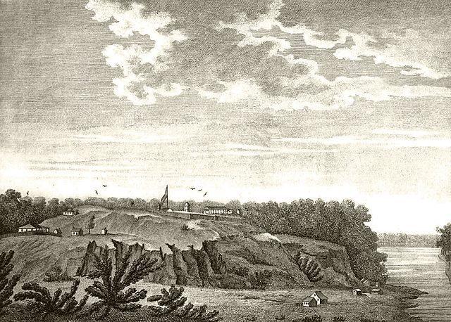 """""""View of the Fort of the Natchez"""", from Georges Henri Victor Collot's Voyage dans l'Amérique Septentrionale, ou Description des pays arrosés par le Mississipi, l'Ohio, le Missouri. Originally published in 1796"""