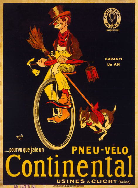 Early (high-wheel) tire advertising of Continental, circa 1900