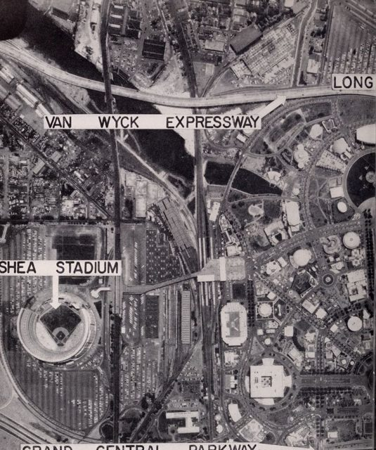 Aerial views of the fair grounds during the 1964 World's Fair.