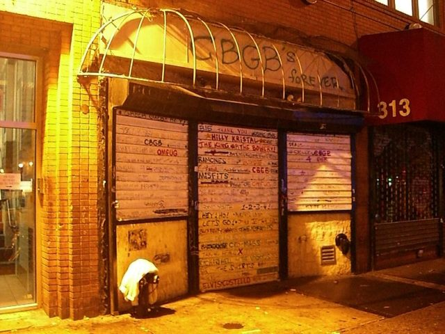 This is a photo of CBGB after they closed and the awning was taken down. Photo Credit