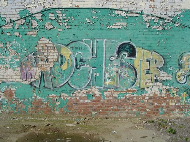 """""""Madchester"""" graffiti in Salford, England. Author: Mike Colvin. CC-BY 2.0"""