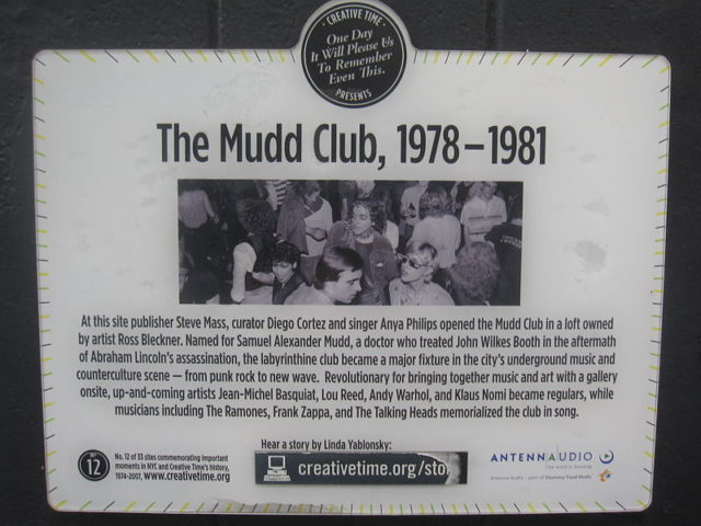 Mudd Club plaque on building in NYC. Author: Wickkey. CC BY-SA 3.0