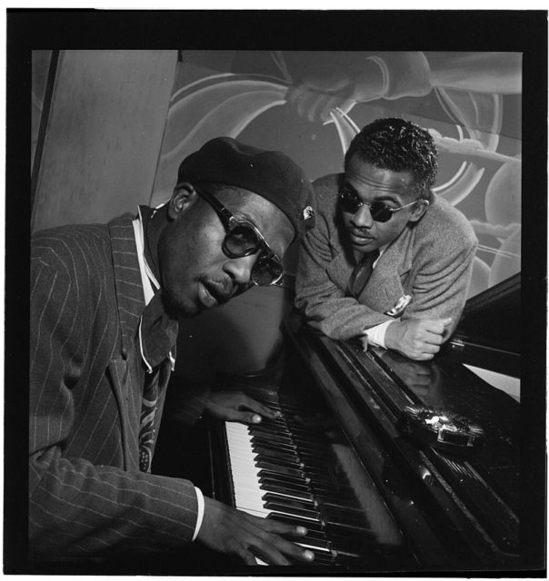 Thelonious Monk and Howard McGhee at Minton's Playhouse, ca. September 1947. Photography by William P. Gotlieb. Author: William P. Gottlieb. Public Domain