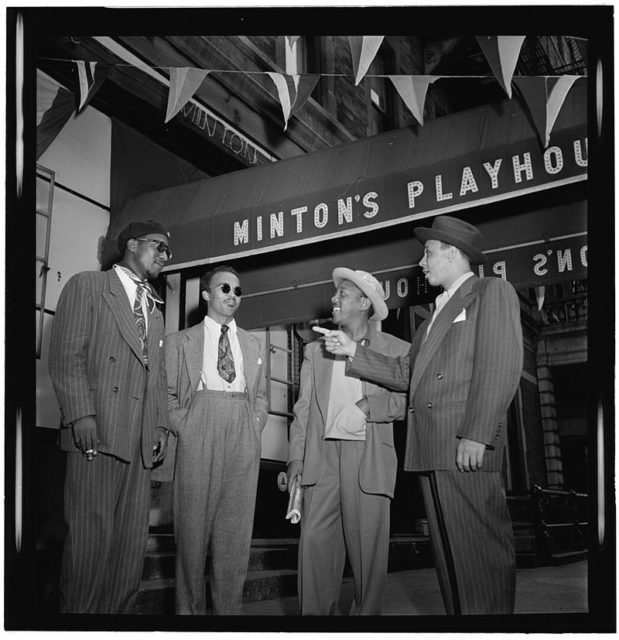 Thelonious Monk, Howard McGhee, Roy Eldridge, and Teddy Hill, Minton's Playhouse, New York, N.Y., ca. Sept. 1947. Author: William P. Gottlieb. Public Domain
