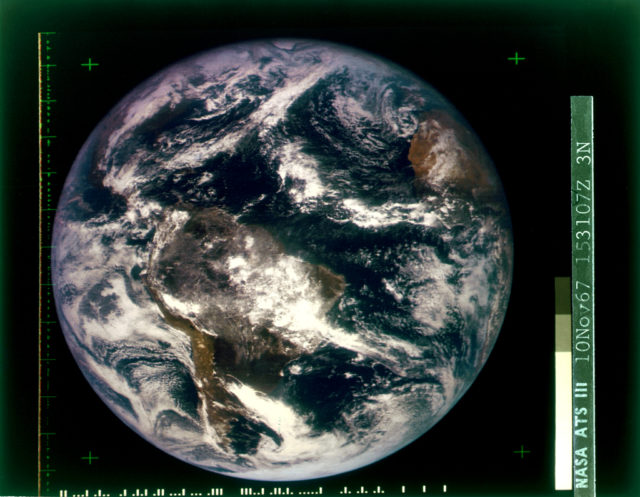 The first color photo of Earth, imaged in 1967 by ATS-3, was used as the cover of Whole Earth Catalog's first edition.