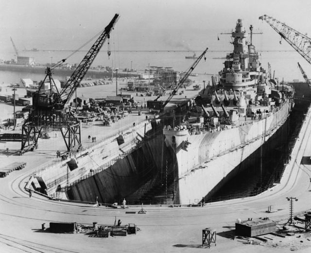 Battleship in the drydock.Unknown or not providedPublic Domain