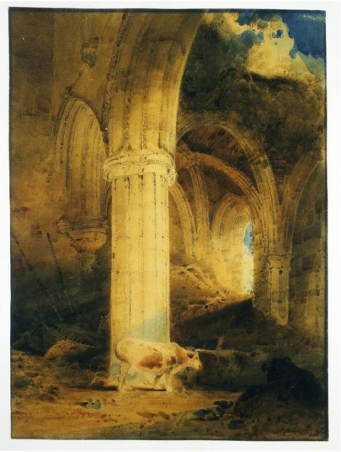 Ruins of Rievaulx Abbey, 1803, by the English painter John Sell Cotman