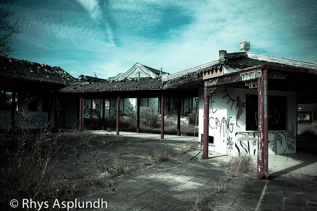Derelict buildings at the ruined park.Author: Rhys A. CC BY 2.0