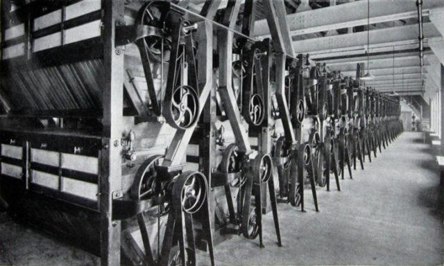 Main centrifugal dressing machine floor.Author:Grace's Guide.Public Domain.