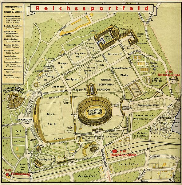 Map of Reichssportfeld during the 1936 Summer Olympics.