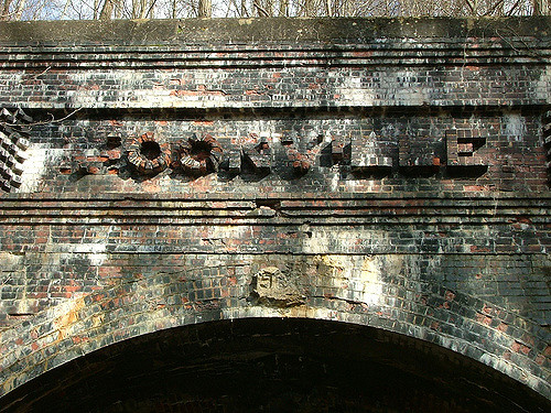 Moonville Tunnel brick letters.Author:mookittyCC BY-ND 2.0