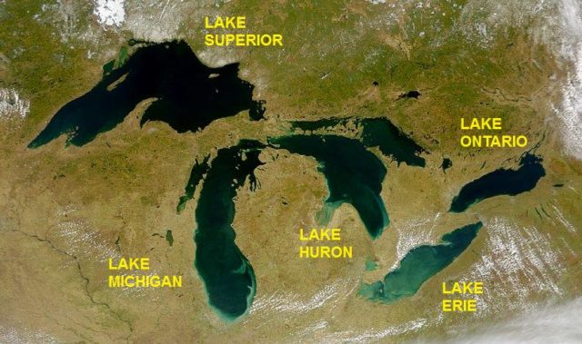 Satellite image of the Great Lakes. Author:SeaWiFS Project, NASA/Goddard Space Flight Center, and ORBIMAGEPublic Domain